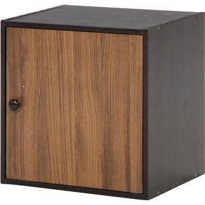 北欧風 収納ボックス/収納棚 【ブラウン】 扉付き 幅40cm 天然木/取っ手 スタッキング 『ウッドグラデーション』