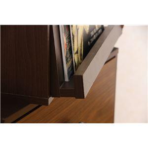 北欧風 収納ボックス/収納棚 【ダークブラウン】 フラップ扉付き 幅40cm スタッキング 『ウッドグラデーション』