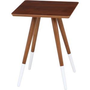 北欧風 突板サイドテーブル/ローテーブル 【ブラウン×ブラウン×ホワイト】 幅40cm 木製 〔リビング〕