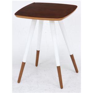 北欧風 突板サイドテーブル/ローテーブル 【ブラウン×ホワイト×ブラウン】 幅40cm 木製 〔リビング〕