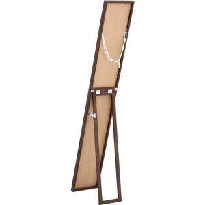 ウォール&スタンドミラー/全身姿見鏡 【幅23cm ブラウン】 スリム 収納式スタンド 壁掛け可 飛散防止加工