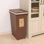 プッシュ式ダストボックス/ゴミ箱 【30L ブラウン】 幅37cm ポリプロピレン製 キャスター付き 『アルフ』