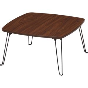 北欧風 ローテーブル/コーヒーテーブル 【四角型 ブラウン】 幅60cm 折りたたみ 『角60』 〔リビング ダイニング〕
