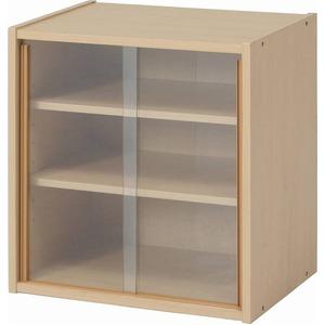 北欧風 ミニ食器棚/キッチン収納 【幅43cm】 メープル ガラス製引き戸付き