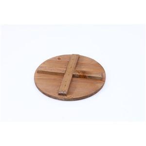 ビンテージ風 ブリキスツール/収納ボックス 【アイボリー】 直径25cm×高さ26cm スチール製 天然木座面 〔インテリア家具 什器〕 の画像