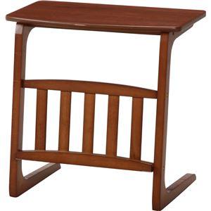 北欧風 サイドテーブル/ローテーブル 【ミディアムブラウン】 幅55cm マガジンラック付き 『ノルン』