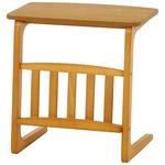 北欧風 サイドテーブル/ローテーブル 【幅55cm ナチュラル】 マガジンラック付き 木製 『ルレーヴェ』 の画像