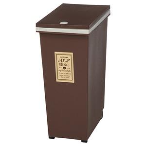 プッシュ式ダストボックス/ゴミ箱 【45L ブラウン】 幅42cm ポリプロピレン製 キャスター付き 『アルフ』