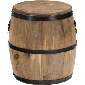 樽型スツール/収納付きオットマン 【高さ30cm】 ブラウン 木製 アイアンフレーム フタ付き 〔什器 ディスプレイ家具〕