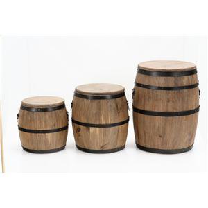 樽型スツール/収納付きオットマン 【高さ30cm】 ブラウン 木製 アイアンフレーム フタ付き 〔什器 ディスプレイ家具〕 の画像