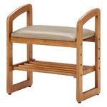 和モダン風 サポートチェア/玄関椅子 【ブラウン】 幅50cm 高さ調整可 収納棚付き 張地:合成皮革/合皮 木製フレーム の画像