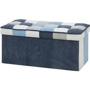 デニム調 収納付きベンチ/ベンチ椅子 【幅82cm】 ブルー×パッチワーク 〔リビング ダイニング〕