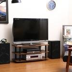 テレビラック/テレビ台 【ブラウン】 幅90cm 収納棚 脚付き の画像