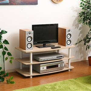 テレビラック/テレビ台 【ホワイトウォッシュ】 幅90cm 26型〜40型対応 収納棚 脚付き の画像