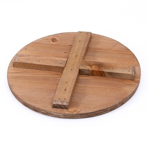 ビンテージ風 ブリキスツール/収納ボックス 【アイボリー】 直径27cm×高さ41cm スチール製 天然木座面 〔インテリア家具 什器〕 の画像