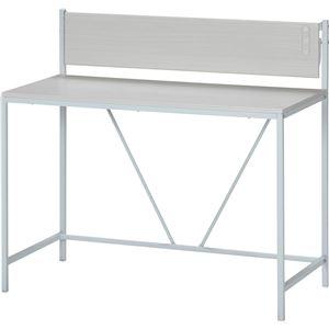 デスク/マルチテーブル 【ホワイト】 幅105cm スチールフレーム 収納棚・二口コンセント付き 『フレックス』