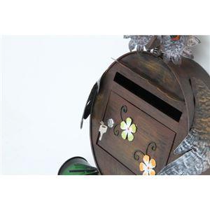 レトロ調 アニマル型 ポスト/郵便ポスト 【フクロウ型 幅44.5cm】 スチール製 〔玄関 什器〕