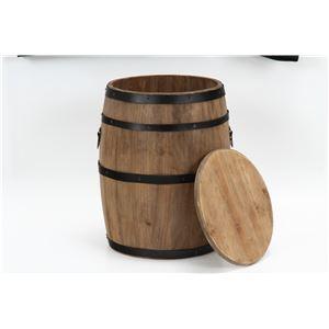 樽型スツール/収納付きオットマン 【高さ40cm】 ブラウン 木製 アイアンフレーム フタ付き 〔什器 ディスプレイ家具〕 の画像