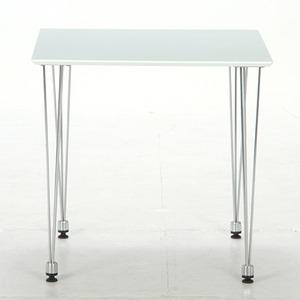 ダイニングテーブル/リビングテーブル 【ホワイト】 正方形 幅75cm スチールフレーム 〔インテリア家具 什器〕 の画像