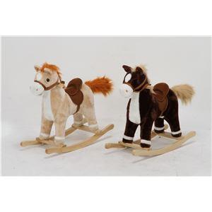 子供用 ロッキングチェア/揺り椅子 【ポニー型 ベージュ】 幅64cm 木製素材使用 〔おもちゃ 子ども部屋〕