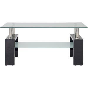 センターテーブル/ローテーブル 【ブラック】 幅100cm 強化ガラス製天板 スチールフレーム 収納棚付き 『フォーカス』