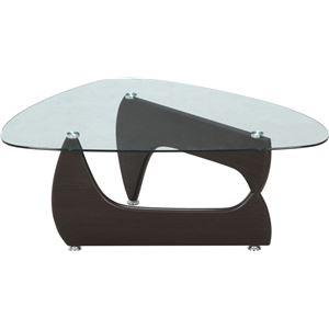 ガラス製センターテーブル/ローテーブル 【ウォルナット】 幅100cm 強化ガラス製天板 『ルーク』