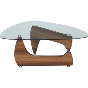ガラス製センターテーブル/ローテーブル 【ライトウォルナット】 幅100cm 強化ガラス製天板 『ルーク』