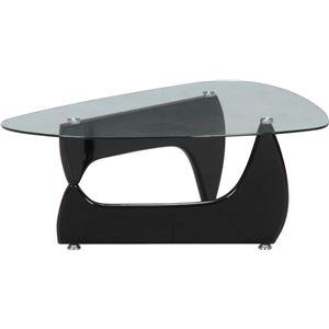 ガラス製センターテーブル/ローテーブル 【ブラック】 幅100cm 強化ガラス製天板 『ルーク』