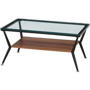 ガラス製リビングテーブル/ダイニングテーブル 【ダークブラウン 幅80cm】 強化ガラス天板 スチールフレーム 棚板付 『クレア』