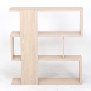 『S型』 ディスプレイシェルフ/本棚 3段 【ホワイトウォッシュ】 幅120cm 〔什器 書斎 オフィス〕 の画像