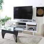 テレビボード/テレビ台 【ホワイト 幅150cm】 42型〜65型対応 収納棚 扉付き収納 雑誌ディスプレイ付き 『アルト』 の画像