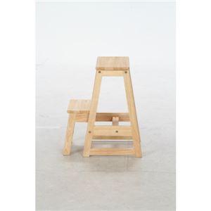 北欧風 ステップラダー/脚立 【2段】 ナチュラル 幅38cm 木製 『ボヌール』 〔什器 店舗〕