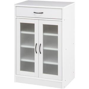 キャビネット/食器棚 【ホワイト】 幅59cm 取っ手付き扉 引き出し1杯付き 『プレモ』