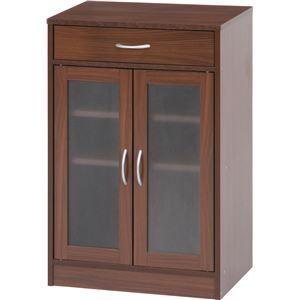 キャビネット/食器棚 【ブラウン】 幅59cm 取っ手付き扉 引き出し1杯付き 『プレモ』