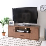 ローボード/テレビ台 【ブラウン 幅118cm】 32型〜46型対応 扉付き収納棚 脚付き 『ラルゴ』の画像