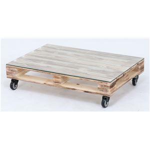 センターテーブル/ローテーブル 【幅80cm】 ガラス製天板 キャスター付き