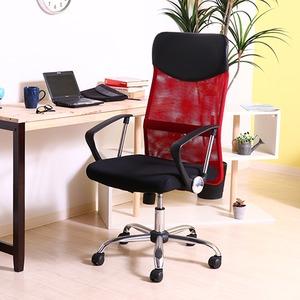 デスクチェア(椅子)/メッシュハイバックチェアー ガス圧昇降機能/肘掛け/キャスター付き レッド(赤) - 拡大画像