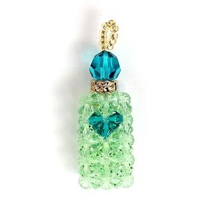 【Rosybear】スワロフスキー社クリスタル魅惑の香水ストラップ(ナチュラルグリーン) - 拡大画像