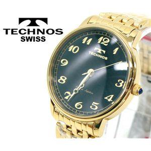 【TECHNOS】テクノス スリムウォッチ 本サファイヤ1石 T4094 文字盤ブラック/本体ゴールド  - 拡大画像