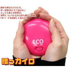 電池式カイロ 暖っカイロ HB-030 ピンク・白の2個セット - 拡大画像