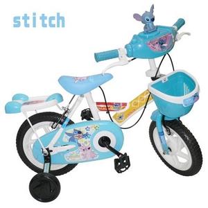 stitch & pooh 12インチ子供自転車 補助輪・カゴ付き 水色2台セット