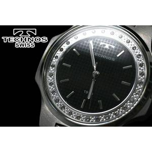 テクノス 腕時計 スリム メンズ ブラック