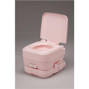 本格派ポータブル水洗トイレ ピンク 10リットル