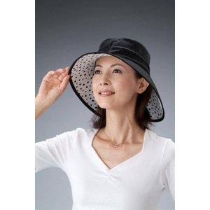 シルク つば長ひんやりリバーシブル帽子 ブラック - 拡大画像