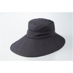 シルク つば長ひんやりリバーシブル帽子 ブラック