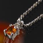 《地球遺産シリーズ》シルバー0.3ctupゴールデンサファイアダイヤモンド入りネックレス