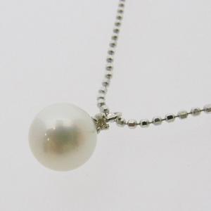 《地球遺産シリーズ》シルバー7.0ミリup花珠パールダイヤモンド入りネックレスの写真2
