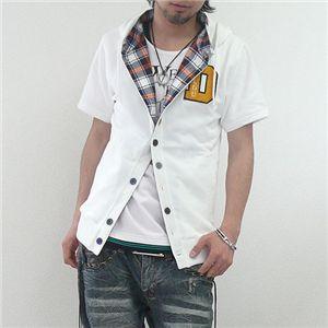 フェイクレイヤードカーデシャツ(LA92503D) ホワイト Lサイズ