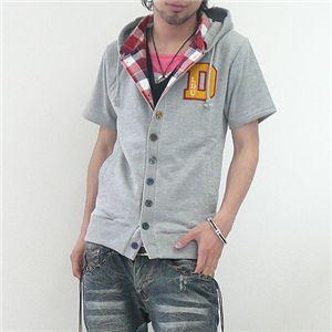 フェイクレイヤードカーデシャツ(LA92503D) グレー Lサイズ