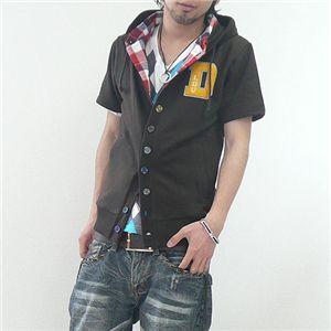 フェイクレイヤードカーデシャツ(LA92503D) チョコ Lサイズ